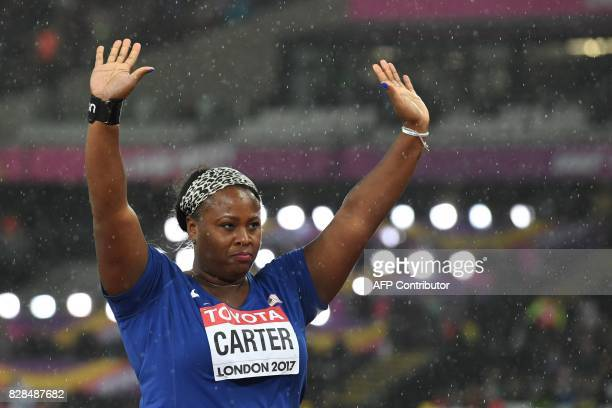 US athlete Michelle Carter celebrates after winning the bronze medal in the final of the women's shot put athletics event at the 2017 IAAF World...