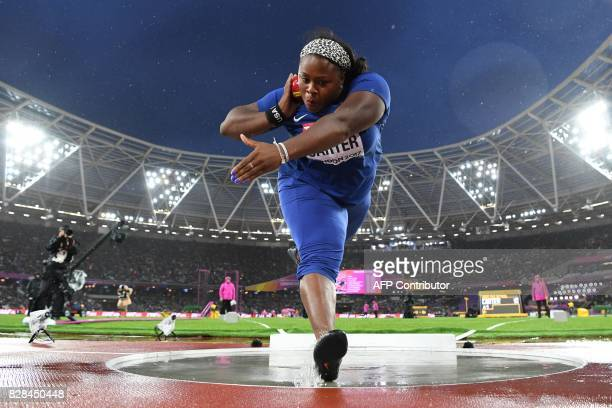 US athlete Michelle Carter competes in the final of the women's shot put athletics event at the 2017 IAAF World Championships at the London Stadium...