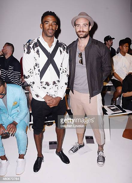 NBA athlete Mike Conley and actor Joshua Sasse attend front row at the Robert Geller fashion show during New York Fashion Week Men's S/S 2016 at...
