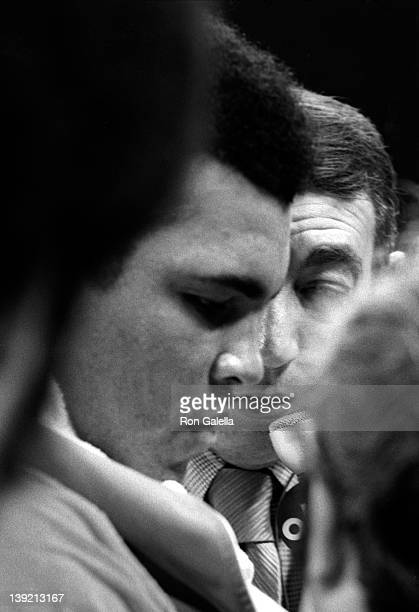 Athlete Muhammad Ali and journalist Howard Cosell attend Muhammad Ali vs Flloyd Patterson Boxing Match on September 20 1972 at Madison Square Garden...