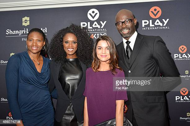 Athlete Muriel Hurtis, Basketball player Emilie Gomis, journalist Cecile Gres and Sylvere Henry Cisse from Canal Plusattend the 'All4Kids' PL4Y...