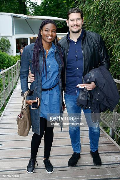 Athlete Muriel Ortiz and singer Kmel attend Day Twelve of the 2016 French Tennis Open at Roland Garros on June 2 2016 in Paris France