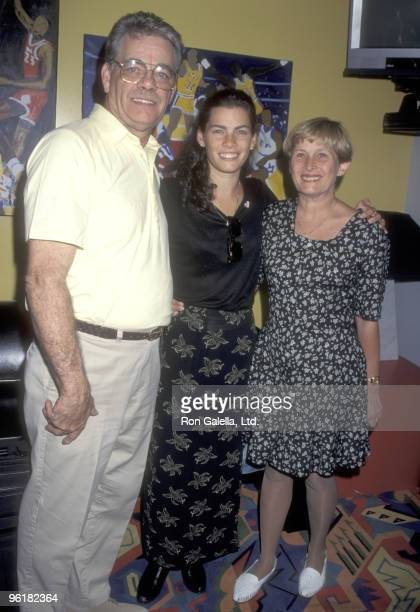 Athlete Nancy Kerrigan and parents Daniel Kerrigan and Brenda Kerrigan attend the DARE Program Honors Nancy Kerrigan on June 30 1995 at The Great...