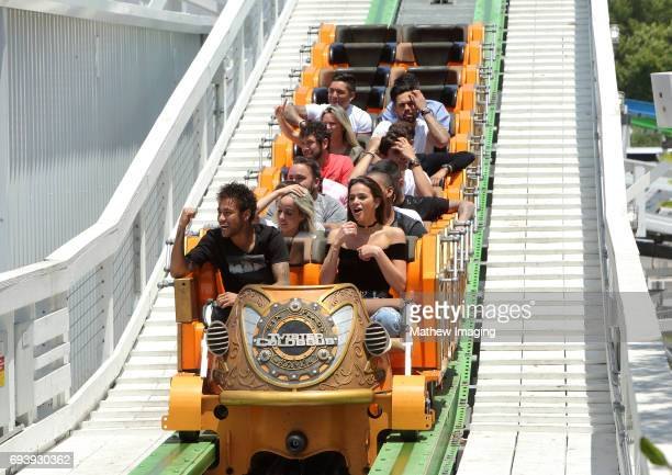 Athlete Neymar Jr and actor Bruna Marquezine ride Twisted Colossus at Six Flags Magic Mountain on June 8 2017 in Valencia California