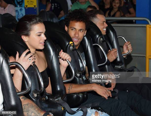 Athlete Neymar Jr and actress Bruna Marquezine ride Batman at Six Flags Magic Mountain on June 8 2017 in Valencia California