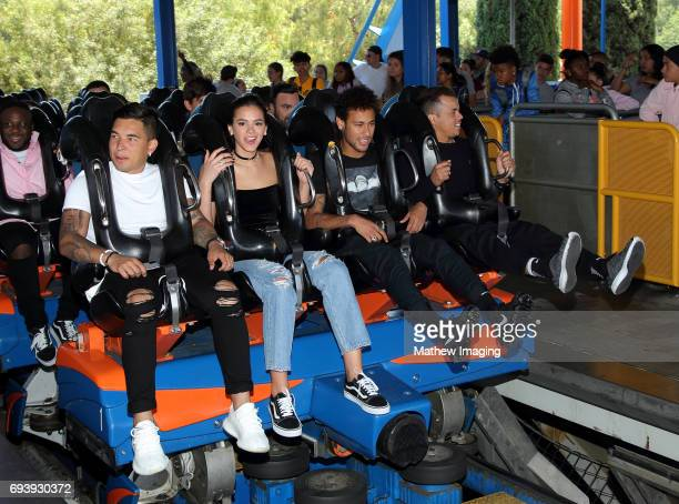 Athlete Neymar Jr and actress Bruna Marquezine ride Scream at Six Flags Magic Mountain on June 8 2017 in Valencia California