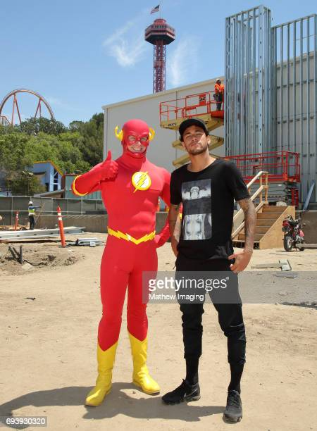 Athlete Neymar Jr ran into FLASH at the construction site of the new JUSTICE LEAGUE Battle For Metropolis ride at Six Flags Magic Mountain on June 8...