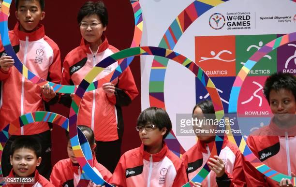 Athlete Ng Chingman and Chief Secretary Carrie Lam Yuetngor and Athletes Lee Pakhim Mak Wingching Wong Yulam Chen Shunyan Tam Mingho at the Kickoff...