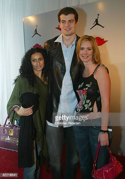 NBA athlete Nikoloz Tskitishvili and guests arrive at the Air Jordan XX Launch Party at Rise Nightclub on February 18 2005 in Denver Colorado