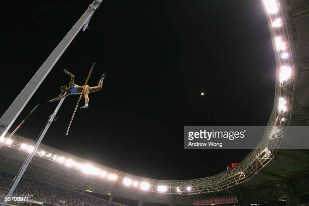 IAAF athlete of the year Yelena Isinbayeva of Russia fails to clear the bar during an attempt in the women's pole vault during the Shanghai Golden...
