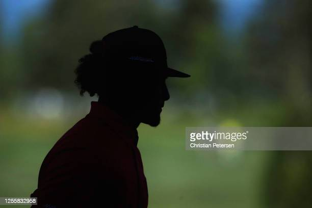 NFL athlete Patrick Mahomes of the Kansas City Chiefs walks off the second green during the final round of the American Century Championship at...