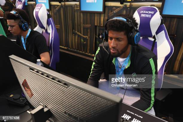 NBA athlete Paul George competes in the Epic Games Fortnite E3 Tournament at the Banc of California Stadium on June 12 2018 in Los Angeles California