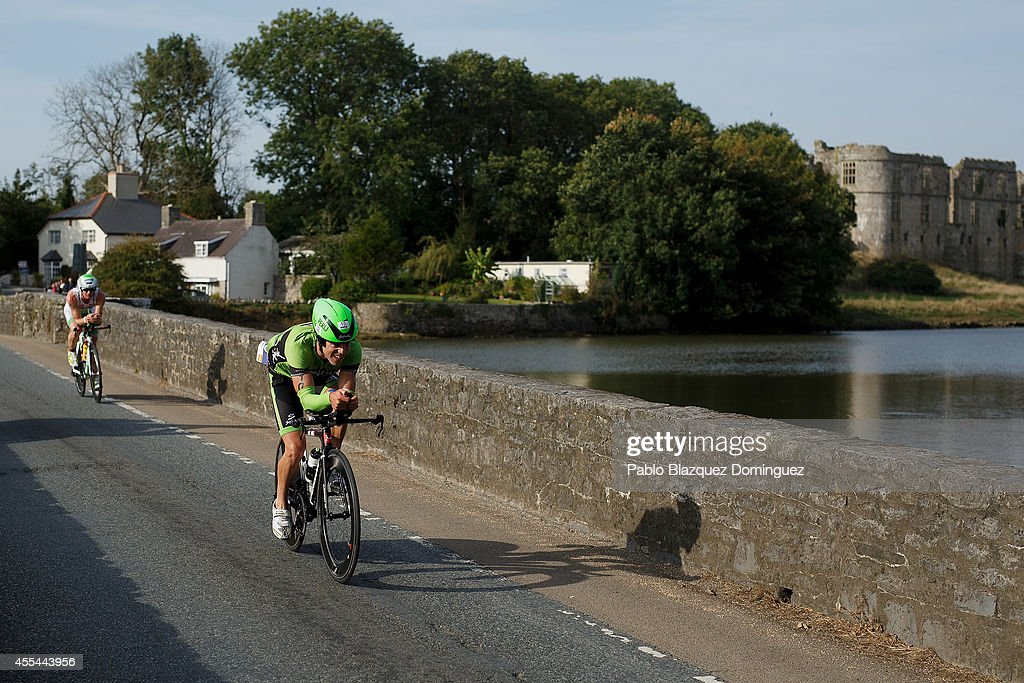 Athlete Peru Alfaro San Ildefonso from Spain competes in the bike section of Ironman Wales on September 14, 2014 in Temby, Pembroke, Wales.