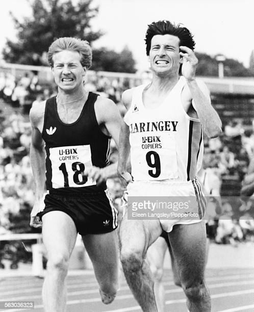 Athlete Peter Elliott overtakes fellow British runner and Olympic champion Sebastian Coe to win the 1500m race at the Amateur Athletics Championships...