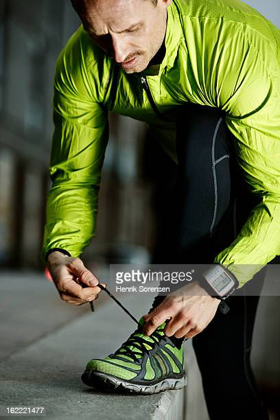 Athlete preparing his work out