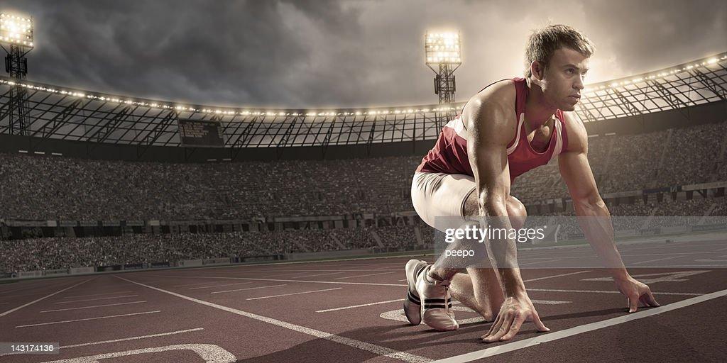 Athlete Preparing To Race : Stock Photo