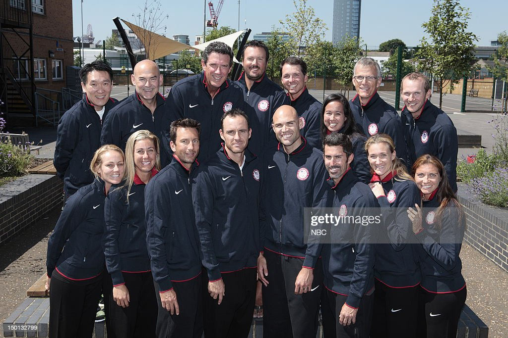 OLYMPICS -- Athlete Processing -- Pictured: US Beach Volleyball Team (front row l-r) Jen Kessy, April Ross, Sean Rosenthal, Jake Gibb, Phil Dalhausser, Todd Rogers, Kerri Walsh Jennings, Misty May-Treanor --