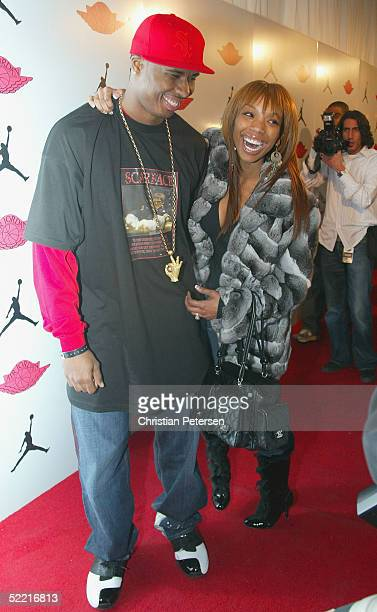 NBA athlete Quentin Richardson and singer Brandy arrive at the Air Jordan XX Launch Party at Rise Nightclub on February 18 2005 in Denver Colorado