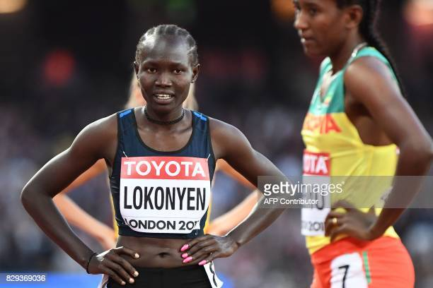 Athlete Refugee Team's Rose Nathike Lokonyen reacts after competing in the women's 800m athletics event at the 2017 IAAF World Championships at the...