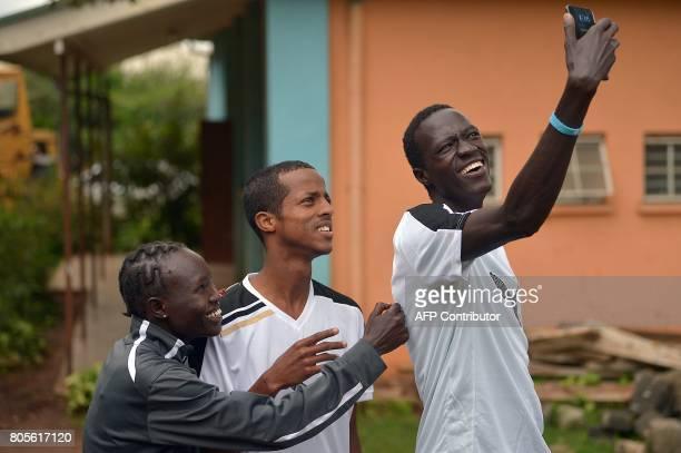 Athlete refugees, South Sudan's Gai Nyan , Somalia's Ahmed Bashir and South Sudanese refugee olympian at the Rio Olympic Games Rose Nathike Lokonyen...