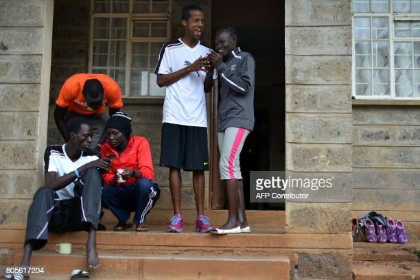 Athlete refugees, South Sudan's Gai Nyan , Somalia's Ahmed Bashir and South Sudanese refugee olympians at the Rio Olympic Games Anjelina Nada...