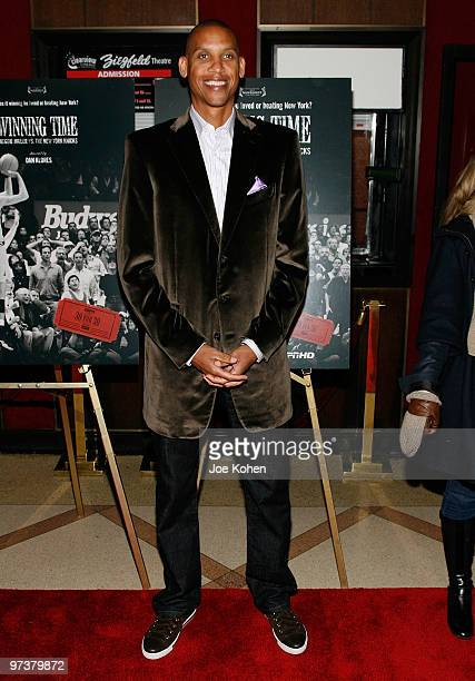 Athlete Reggie Miller attends the premiere of Winning Time Reggie Miller vs The New York Knicks at the Ziegfeld Theatre on March 2 2010 in New York...