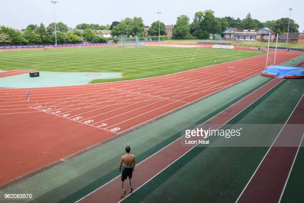 Athlete Richard Whitehead prepares to train on an outdoor track at the British Athletics National Performance Institute on May 24 2018 in...