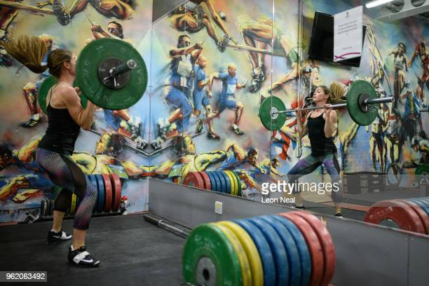 Athlete Rosie Clarke trains in the gym at the British Athletics National Performance Institute on May 24 2018 in Loughborough England The NPI serves...