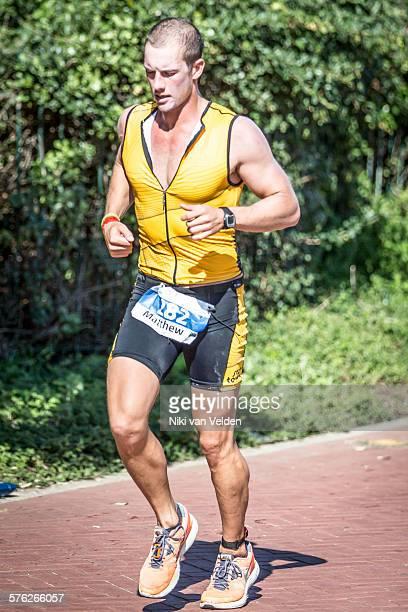 Athlete running during triathlon