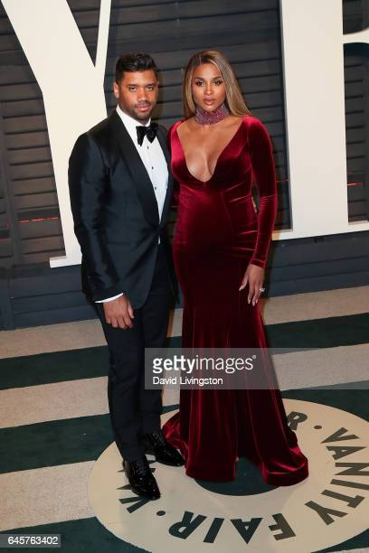 Athlete Russell Wilson and singer Ciara attend the 2017 Vanity Fair Oscar Party hosted by Graydon Carter at the Wallis Annenberg Center for the...