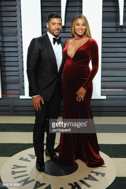 Athlete Russell Wilson and singer Ciara attends the 2017 Vanity Fair Oscar Party hosted by Graydon Carter at Wallis Annenberg Center for the...