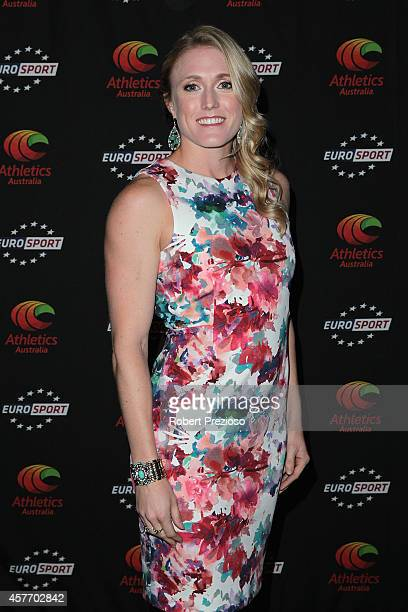Athlete Sally Pearson arrives during the 2014 Athlete of the Year Awards at Crown Entertainment Complex on October 23 2014 in Melbourne Australia
