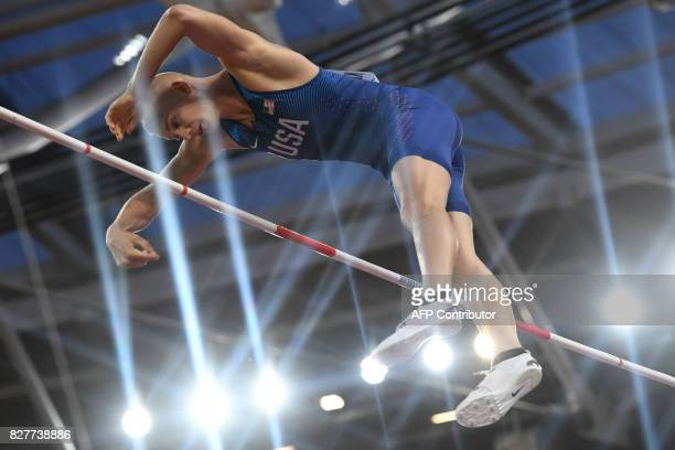 Athlete Sam Kendricks competes in the final of the men's pole vault athletics event at the 2017 IAAF World Championships at the London Stadium in...