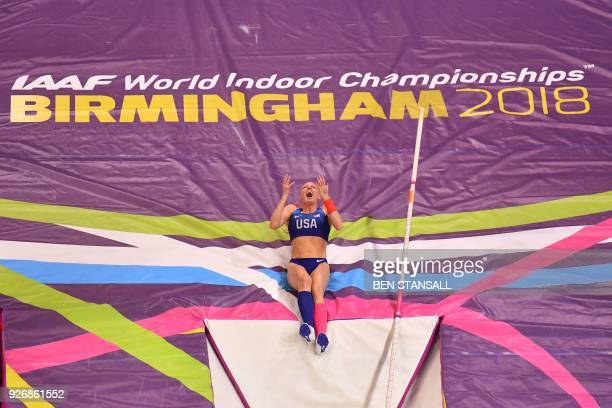 TOPSHOT US athlete Sandi Morris celebrates winning the women's pole vault final at the 2018 IAAF World Indoor Athletics Championships at the Arena in...
