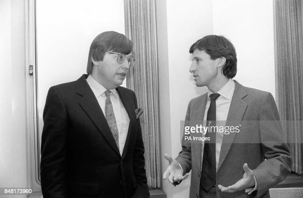 Athlete Sebastian Coe talking to David Mellor left Home Office minister with responsibility for drugs matters before the start of the seminar at the...