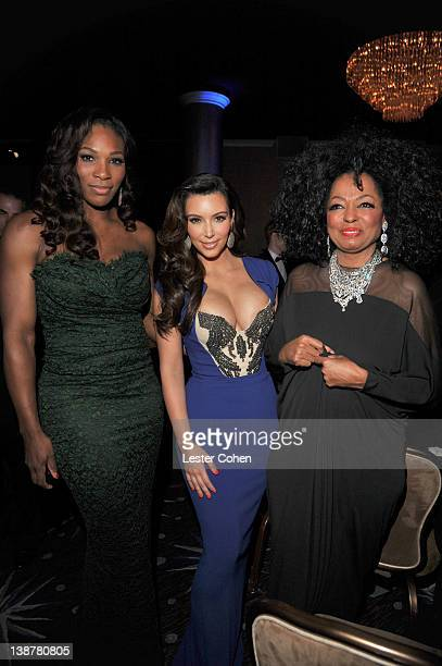 Athlete Serena Williams TV personality Kim Kardashian and singer Diana Ross attend Clive Davis and The Recording Academy's 2012 PreGRAMMY Gala and...