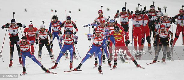 Athlete ski during the men's 15 km mass start in the Biathlon World Cup on January 14, 2007 in Ruhpolding, Germany.