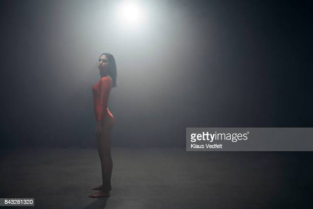 athlete standing in leotard, looking in camera - oresund region stock photos and pictures