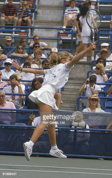 Athlete Steffi Graf attends US Open Tennis Tournament on September 3 1988 at Flushing Meadows Park in New York City