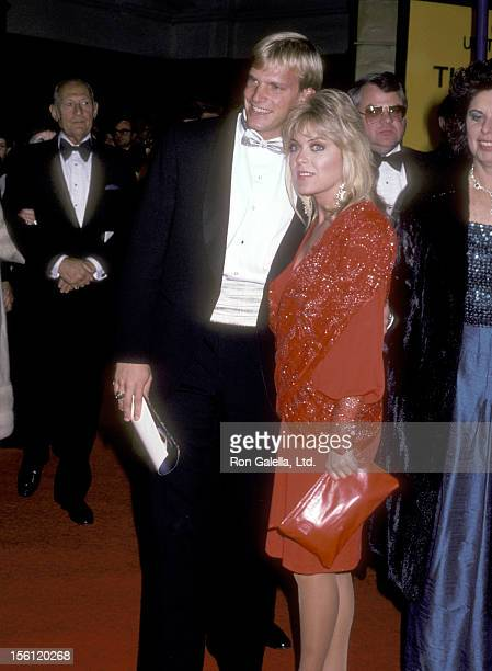 Athlete Steve Lundquist and Actress Lydia Cornell attend the 'Rocky IV' Westwood Premiere on November 21 1985 at Mann Village Theatre in Westwood...