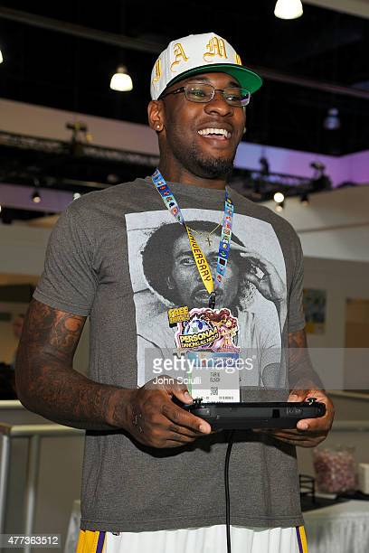 Athlete Tarik Black attends the Nintendo hosts celebrities at 2015 E3 Gaming Convention at Los Angeles Convention Center on June 16 2015 in Los...