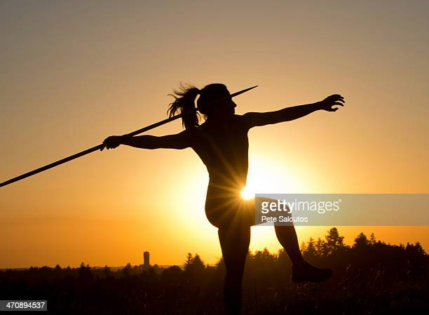 athlete throwing javelin - women's field event stock pictures, royalty-free photos & images