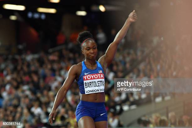 US athlete Tianna Bartoletta reacts during the final of the women's long jump athletics event at the 2017 IAAF World Championships at the London...