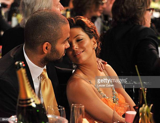 Athlete Tony Parker and actress Eva Longoria-Parker backstage at the TNT/TBS broadcast of the 15th Annual Screen Actors Guild Awards at the Shrine...