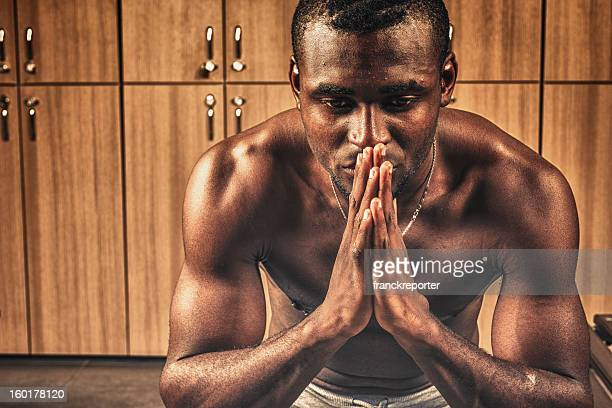 Athlete unsatisfiede on the gym locker room after game