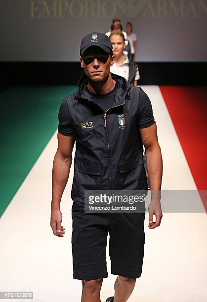 Athlete walks the runway during the presentation the Rio 2016 Olympic uniform designed by Giorgio Armani on July 1 2015 in Milan Italy