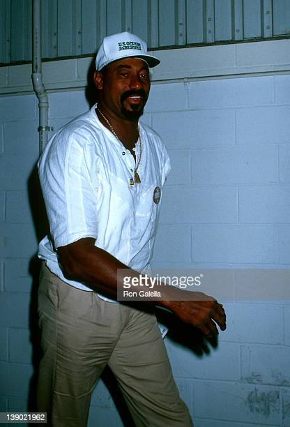 Athlete Wilt Chamberlain attends US Open Tennis Championship on September 3 1988 at Flushing Meadows Park in New York City