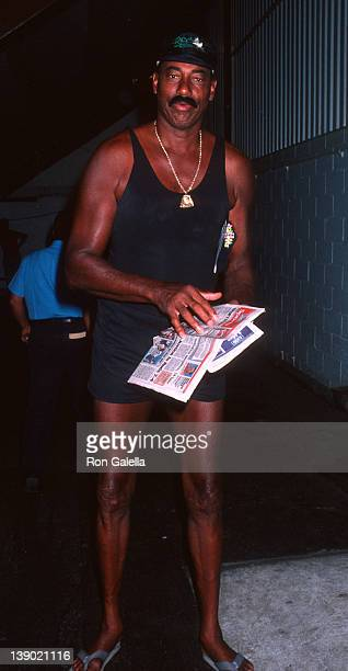 Athlete Wilt Chamberlain attends US Open Tennis Championship on September 5 1990 at Flushing Meadows Park in New York City