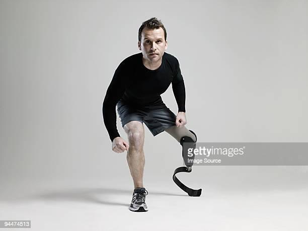 Athlete with prosthetic leg