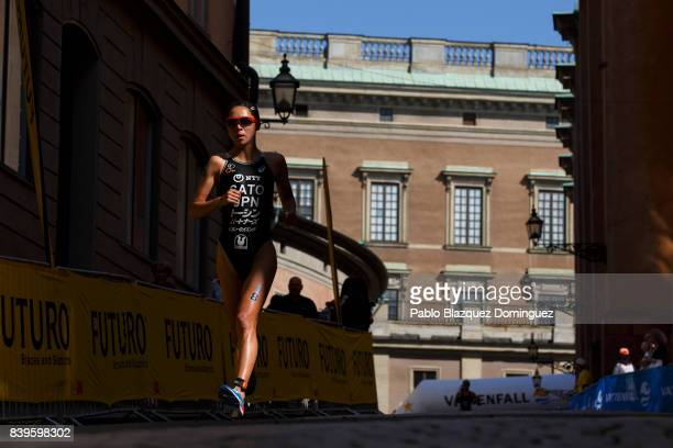 Athlete Yuka Sato from Japan competes on the run leg during the women's Elite race of Vattenfall World Triathlon Stockholm on August 26 2017 in...